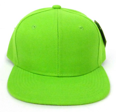 Blank Kids Jr. Snap back Hats Wholesale - Solid - Lime