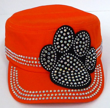 Wholesale Rhinestone Cadet Hats - Paw - Orange