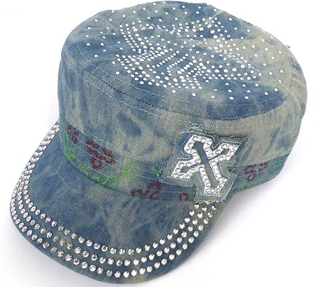 Rhinestone Cross  Cadet Hats Wholesale -Splash L Denim