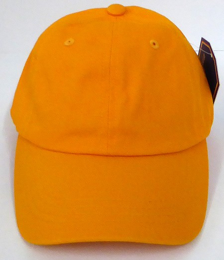 Washed 100% Cotton Plain Baseball Cap - Gold Metal Buckle -Gold