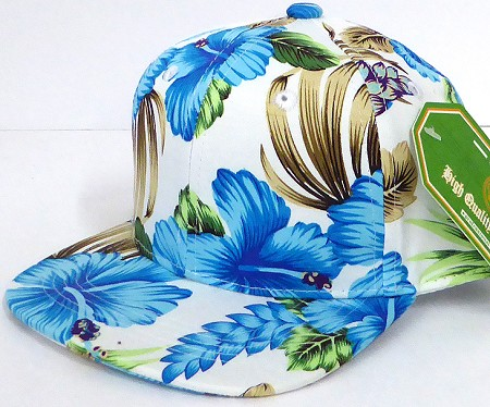 INFANT Baby Blank Snapback Hats & Caps Wholesale Hawaiian Flower  - Solid  Blue