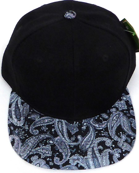 KIDS Jr. Snapback Hats Wholesale -  Paisley - Black Grey