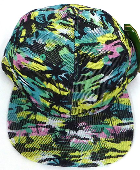 Wholesale Coconut Tree Floral Blank Snapback Hat - Solid Green Pink Yellow
