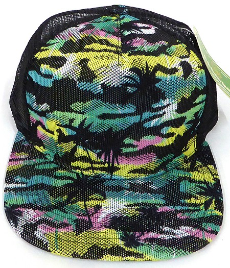 Wholesale Mesh Trucker 5 Panel Snapback Caps - Coconut Tree - Yellow Pink Green