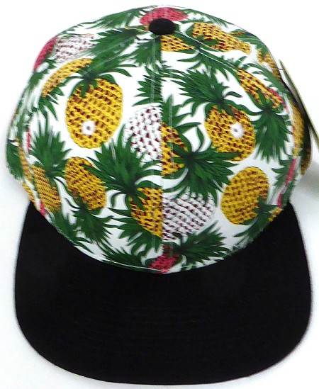 Wholesale PineApple Floral Blank Snapback Hat - White Black