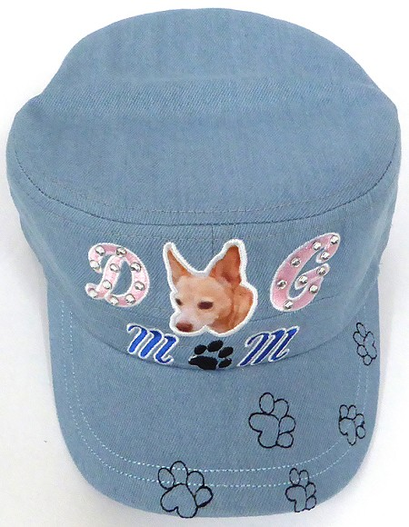 Wholesale Rhinestone Castro Caps - Dog Mom -  Light Denim