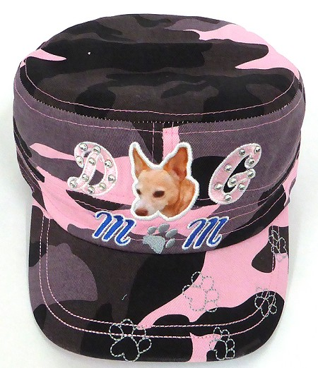 Wholesale Rhinestone Castro Caps - Dog Mom -  Pink Camo