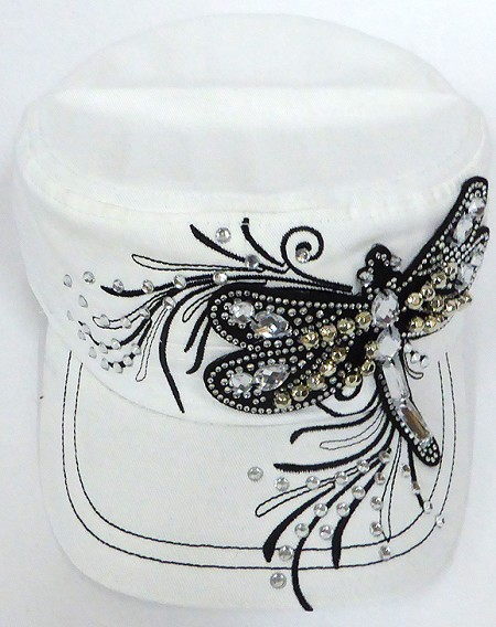 Wholesale Rhinestone Cadet Cap - Dragonfly -  White