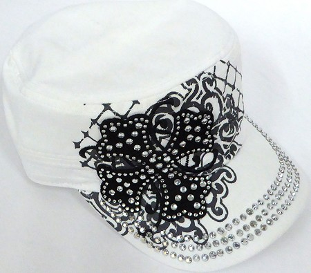 Wholesale Short Cross Cadet Rhinestone Hats -  White