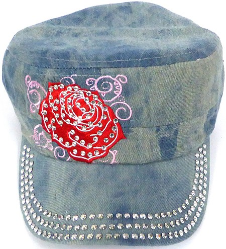 Wholesale Rhinestone Cadet Cap -ROSE- Splash Light Denim