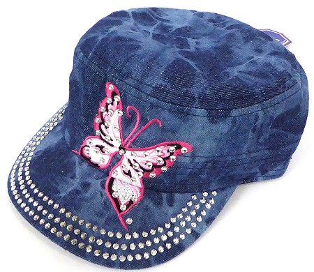 Rhinestone Butterfly Cadet Hats Wholesale - Splash Dark Denim