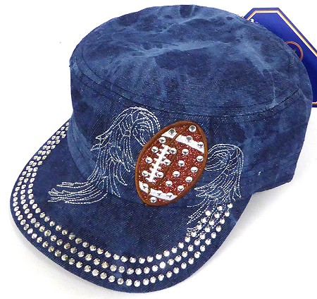 Wholesale Rhinestone Football  Cadet Cap - Splash Dark Denim