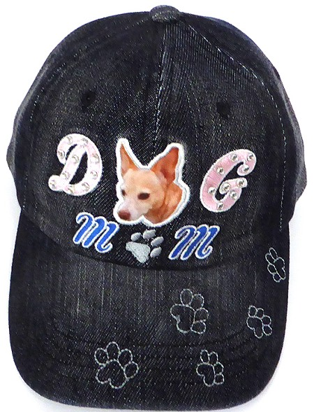 Wholesale Rhinestone Baseball Caps - Dog Mom -  Black Denim