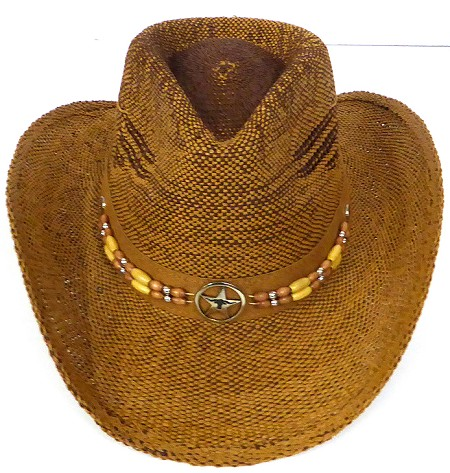 Western Cowboy Straw Hats Wholesale - Star Band