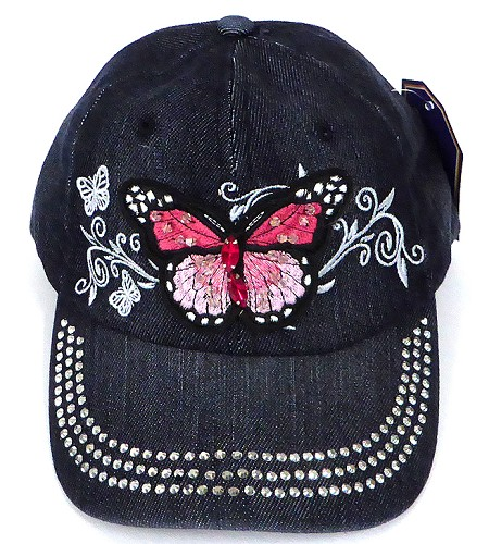 Wholesale Rhinestone Baseball  Cap - Butterfly - Black Denim