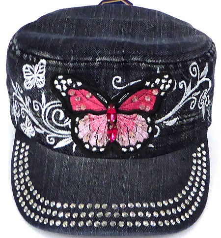 Wholesale Rhinestone Cadet Cap - Butterfly - Black Denim
