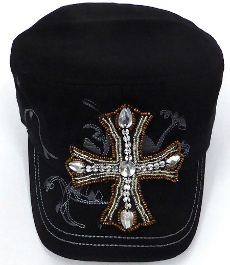 Wholesale  Cross Cadet Rhinestone Hats -  Black