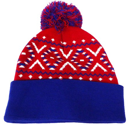 Wholesale Pom Pom Aztec Sideline Beanie  Red royal