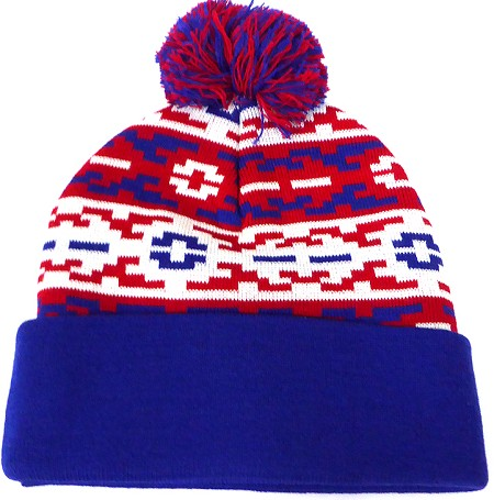 Wholesale Pom Pom Aztec Sideline Beanie  Red  w Royal