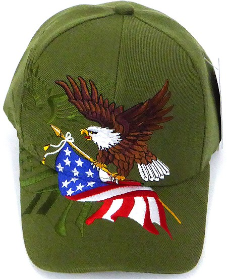Wholesale USA Patriotic Eagle Baseball Caps -Olive