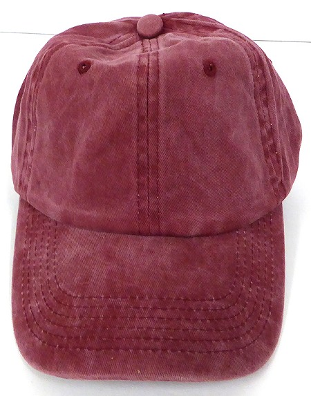 Pigment Dyed Cotton Plain Baseball Cap - Gold Metal Buckle - Solid Burgandy