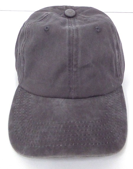 Pigment Dyed Cotton Plain Baseball Cap - Gold Metal Buckle - Solid D.Grey