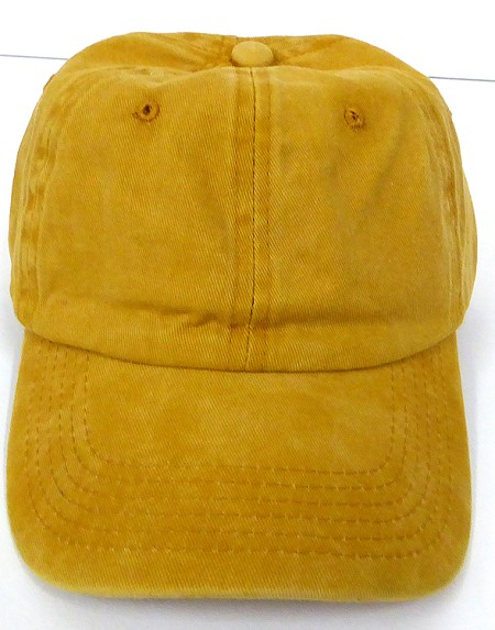 Pigment Dyed  Cotton Plain Baseball Cap - Gold Metal Buckle - Solid Yellow