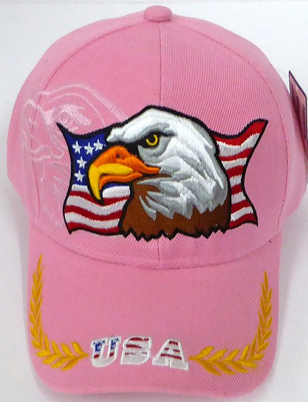 Wholesale USA Patriotic Eagle Baseball Cap -  L Pink