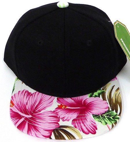 INFANT Baby Blank Snapback Hats & Caps Wholesale Hawaiian Flower  - Black  Pink