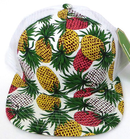 Wholesale Mesh Trucker 5 Panel Snapback Blank Hats - Floral  Pineapple - White