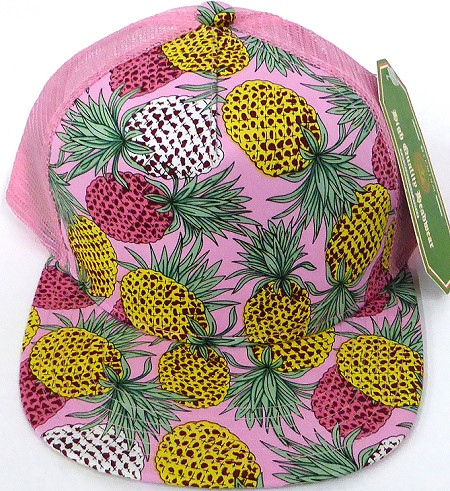 KIDS Junior Floral Trucker Snapback Caps - Pineapple Pink
