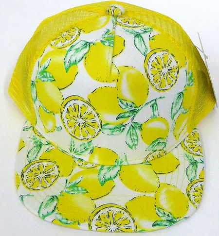 KIDS Junior Floral Trucker Snapback Caps - Yellow Lemon