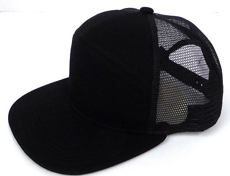 Blank 7 Panel Mesh   Hats/Caps Wholesale -  Black