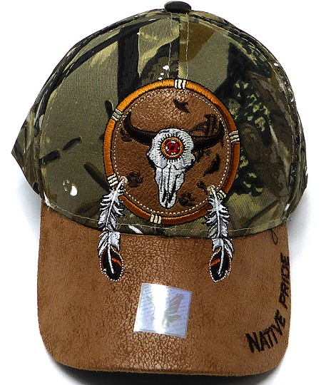 Wholesale Native Pride PU Brim Cap - Buffalo Dreamcatcher - Hunting Camo