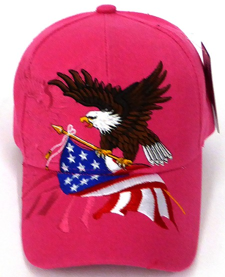 Wholesale USA Patriotic Eagle Baseball Cap - Hot Pink
