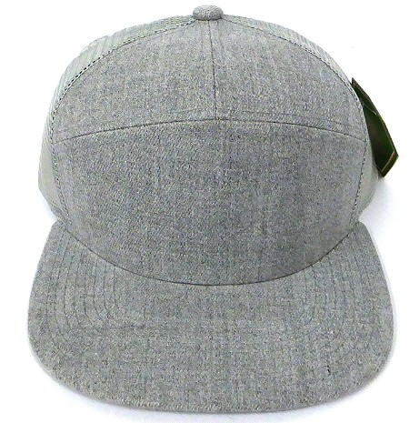 Blank 7 Panel  Mesh Trucker Hats/Caps Wholesale - Solid Denim Grey