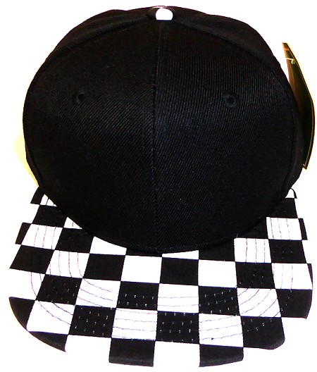 KIDS Jr. Snapback Hats Wholesale - Black / bk Checkered Art Design