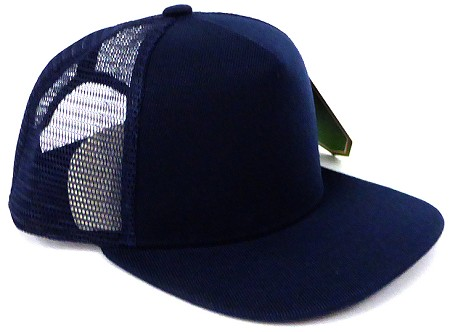 KIDS Junior Plain Trucker Snapback Caps - NAVY Blue