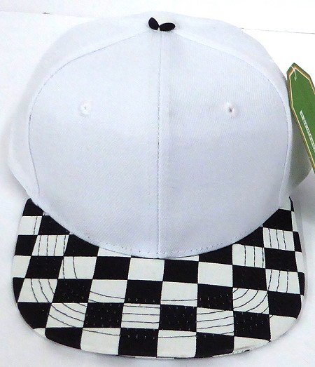 KIDS Jr. Snapback Hats Wholesale - White / bk Checkered Art Design
