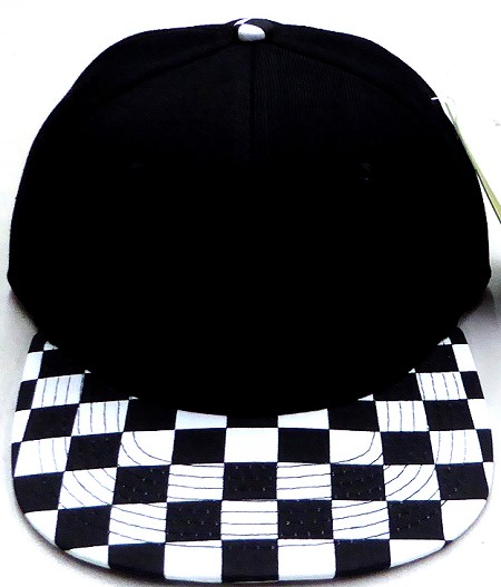 Wholesale Checkered Art Design Snapback Hat - Black / Checkered BK
