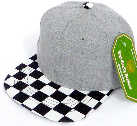 INFANT Baby Blank Snapback Hats & Caps Wholesale - Denim Grey Checkered