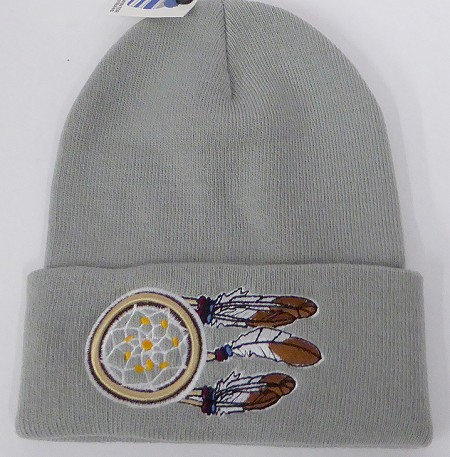 Wholesale Native Pride Long Cuff Beanie - dream catcher Grey
