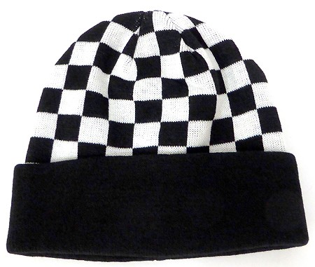 Wholesale Winter Fashion   Knit Checkered Beanies - Black checkered
