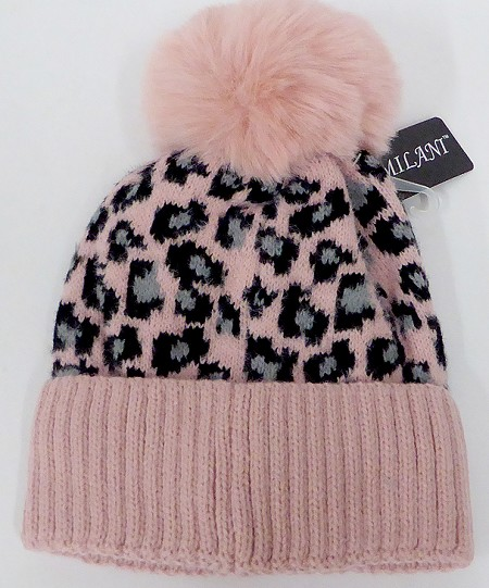 kIDS JR Wholesale Winter Fur knit pom beanie  PINK