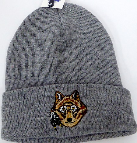 Wholesale Native Pride Long Cuff Beanie - Wolf Ash Grey