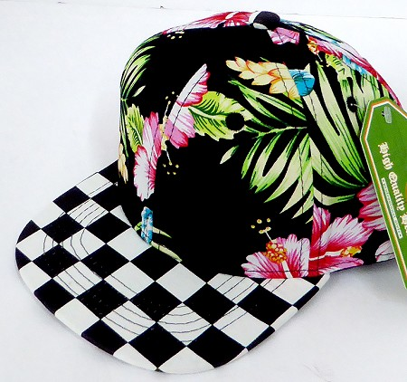 INFANT Baby Blank Snapback Hats & Caps Wholesale - Black Hawaiian flower Checkered