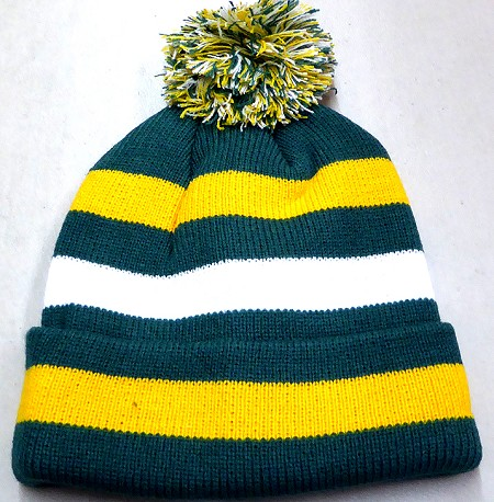 Beanies Wholesale | Pom Pom Beanies Trendy Winter Hats - D Green Gold White