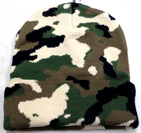 Long Cuff knit Beanie Hats Wholesale - Military CAMO 12 Inch