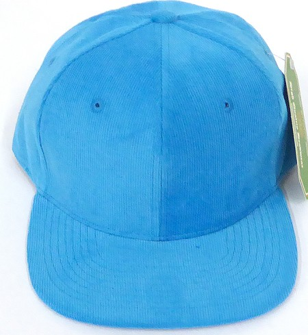 Wholesale Corduroy Blank Snapback Caps - Solid - Turquoise