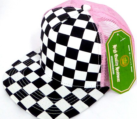 KIDS Junior Mesh Trucker Snapback Caps - Checkered bk  L Pink